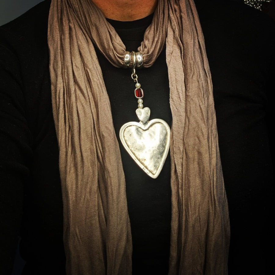 Solid Heart Pendant Beige Scarf