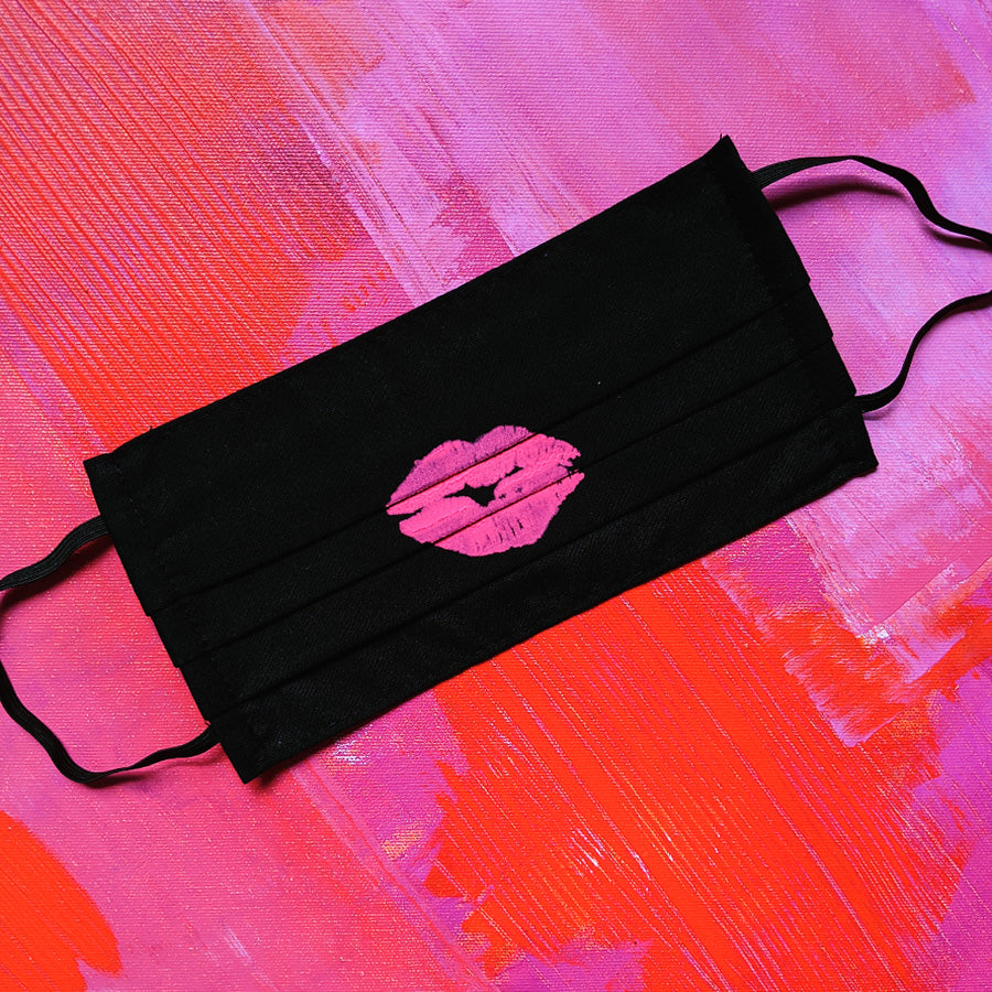 Hot Pink Lips On Black Up Cycled Cotton Face Mask