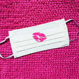 Hot Pink Lips On White Up Cycled Cotton Face Mask