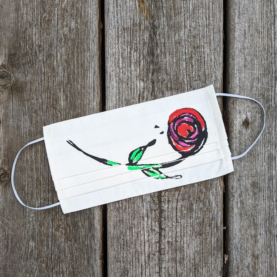 Red Rose Up Cycled Cotton Face Mask