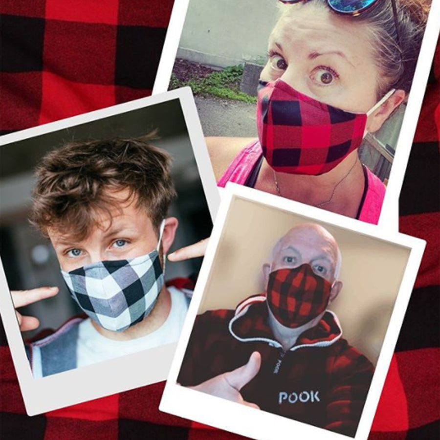 Pook Red & Black Plaid Mask