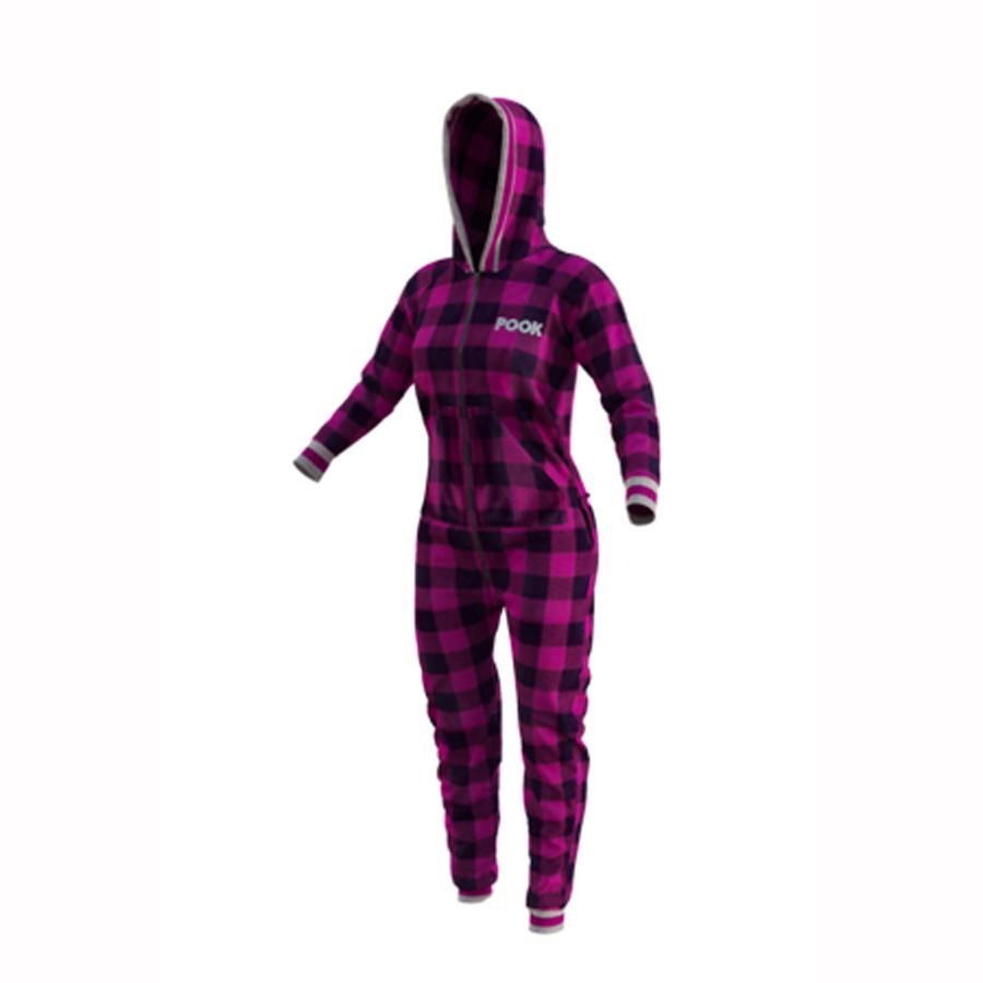 Pook Pink Plaid Fleece Onsie