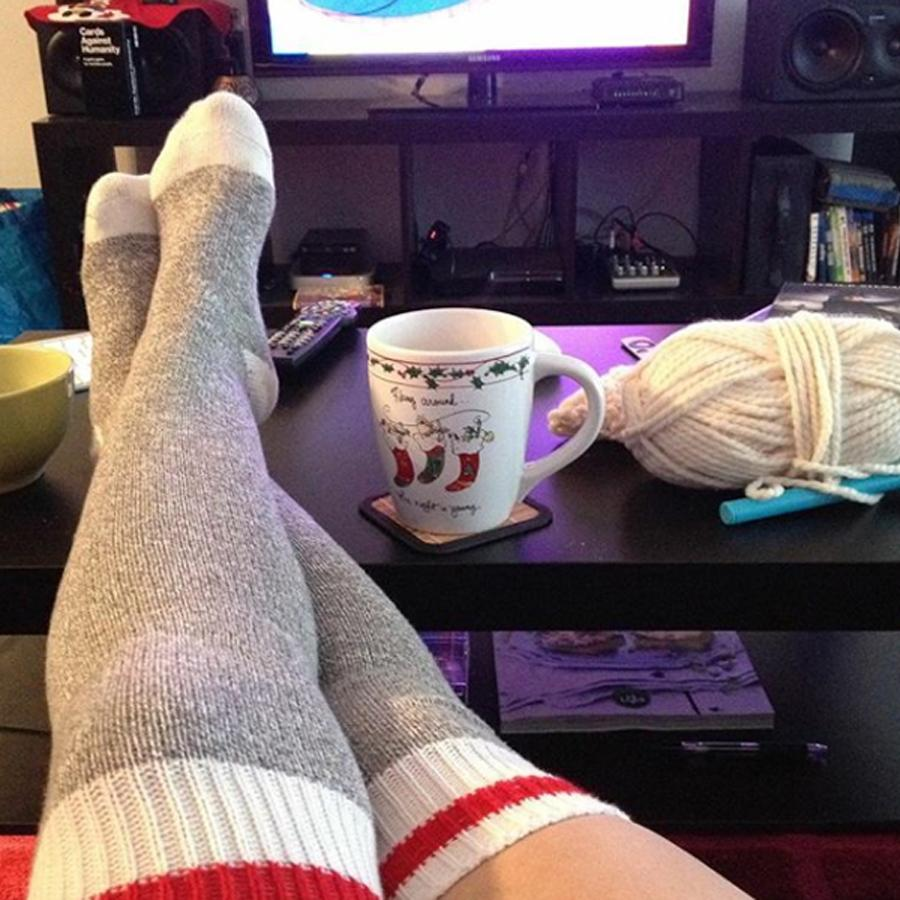 Pook Red Stripe Thigh High Socks