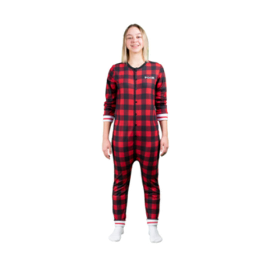Pook Red Plaid Union Suit Onesie