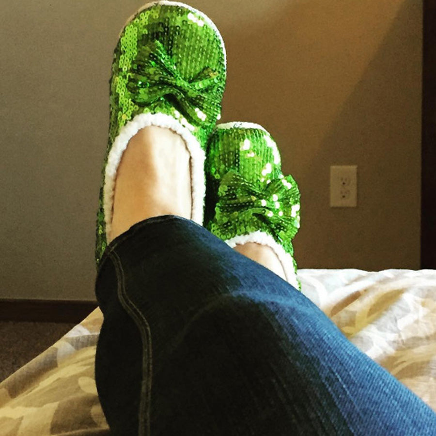 Green Brilliance Bling Metallic Snoozies