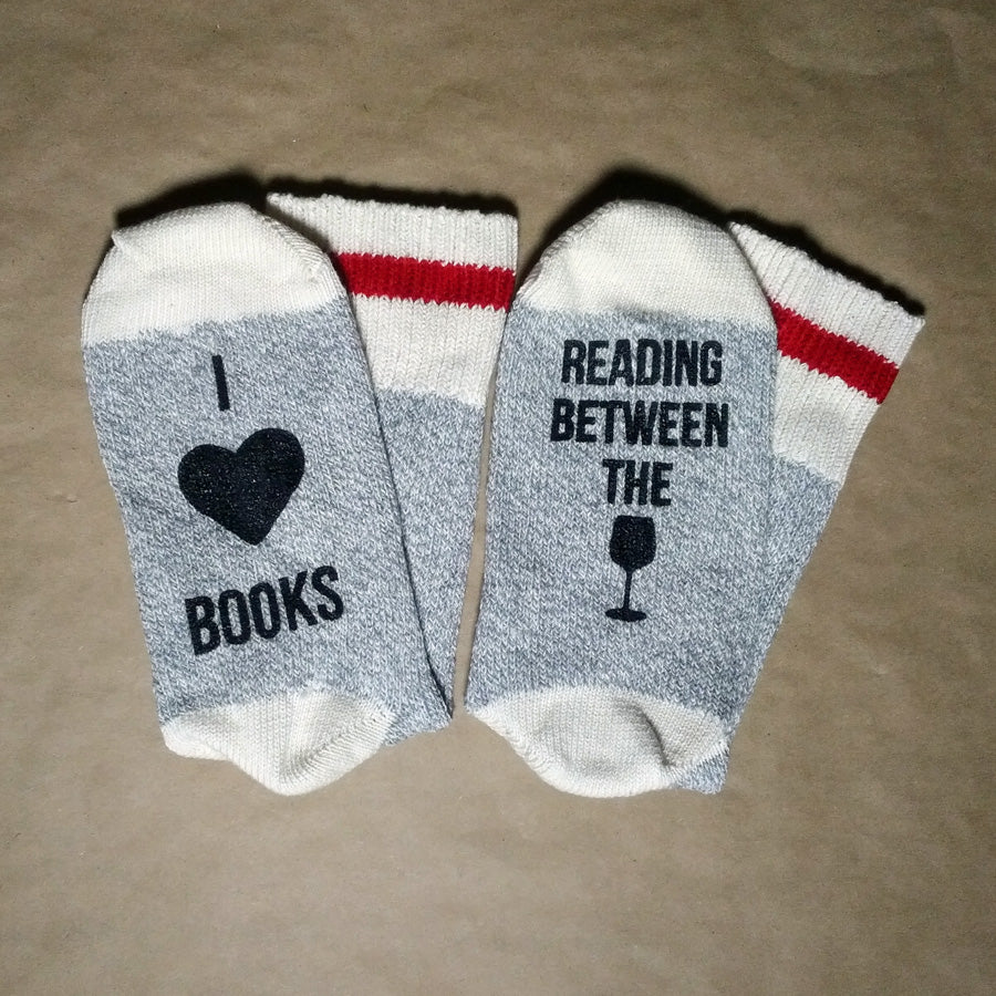 I Heart Books Reading Between the Wines Unisex Cotton Socks