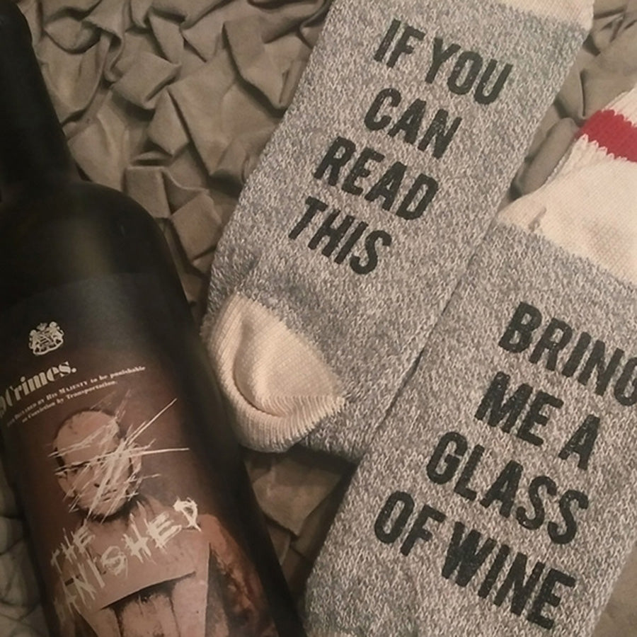 Bring Me A Glass of Wine Cotton Knee High Socks