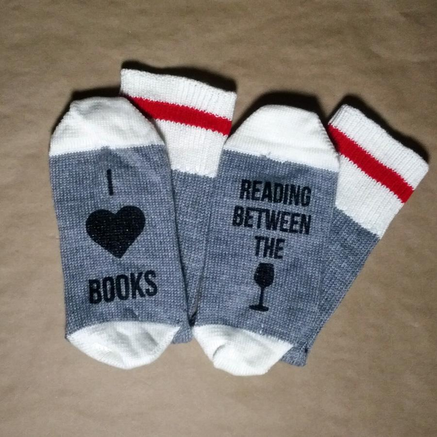 I Heart Books Reading Between the Wines Merino Wool Socks
