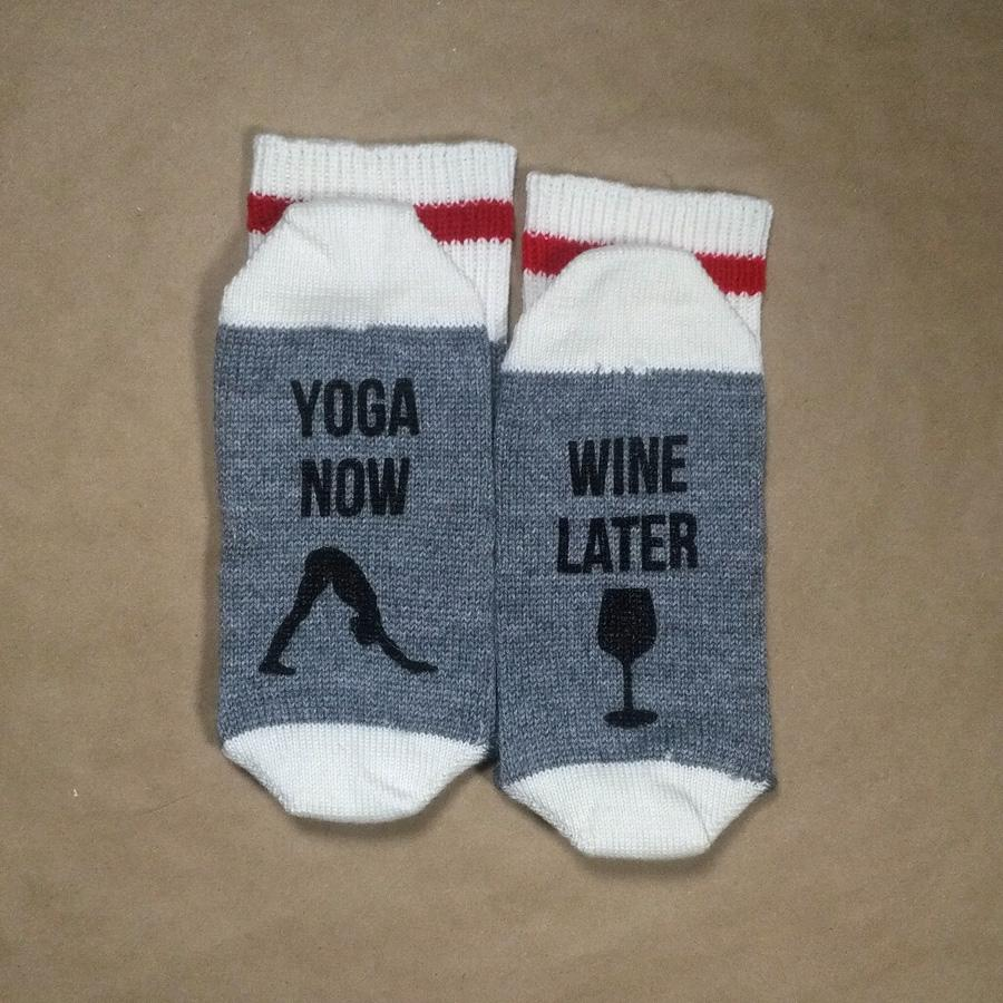 Yoga Now, Wine Later Wool Socks