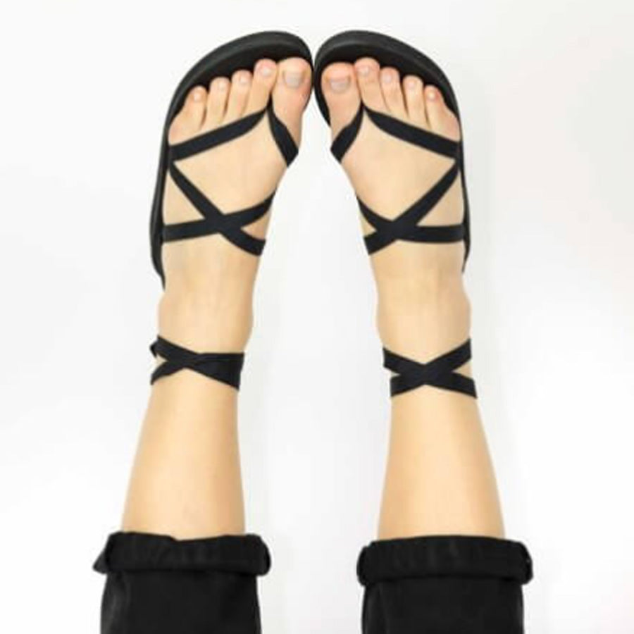 Sseko Black Leather Ribbon Sandals