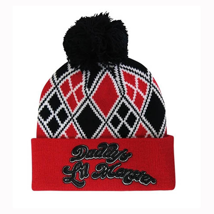 Harley Quinn Daddy's Little Monster Pom Pom Hat