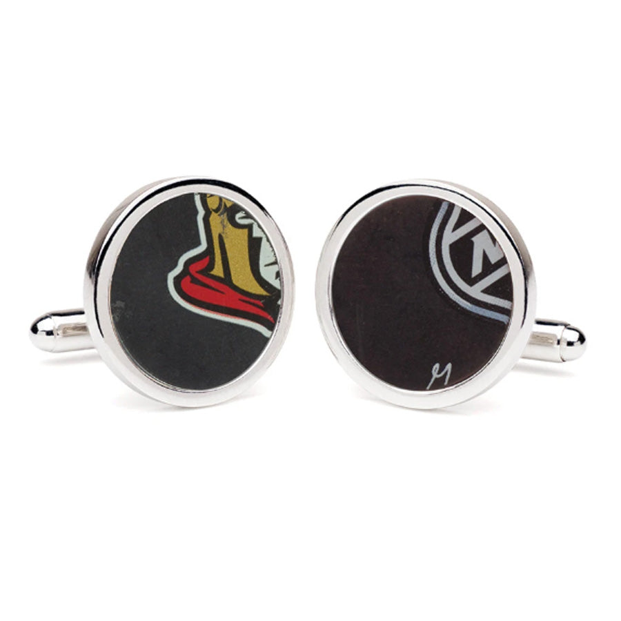 Ottawa Senators Game Used NHL Hockey Puck Cuff Links
