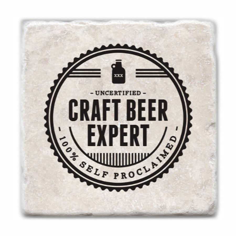 Craft Beer Expert Marble Coaster