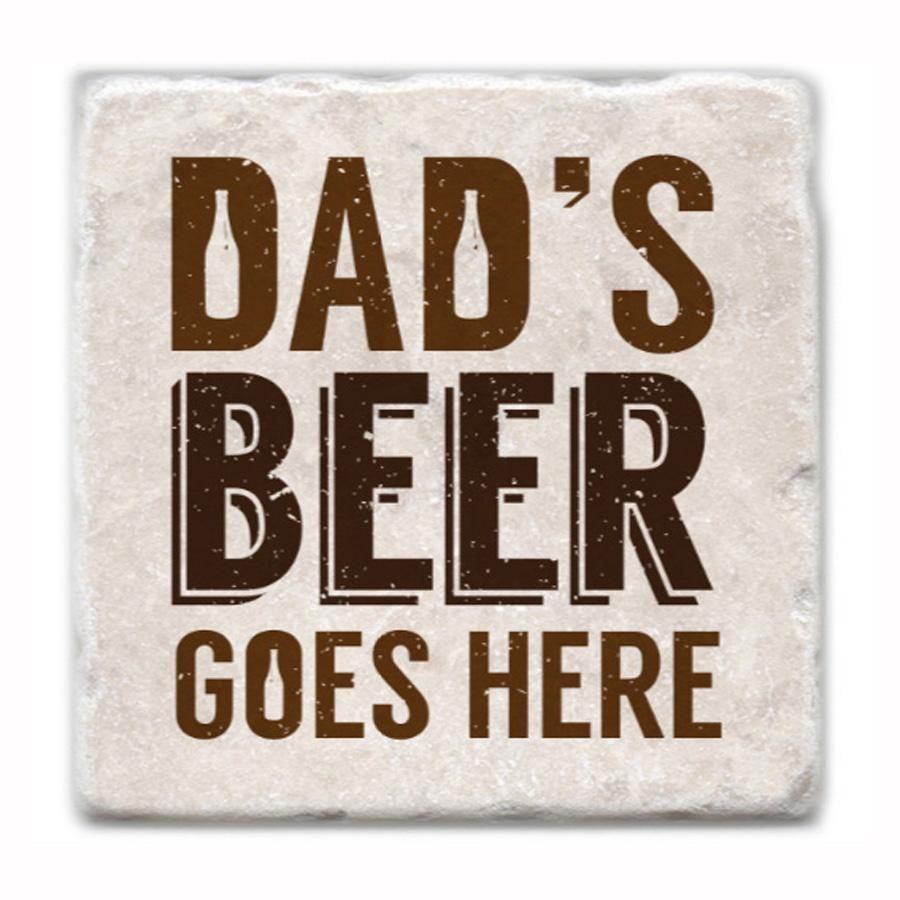 Dad's Beer Goes Here Marble Coaster