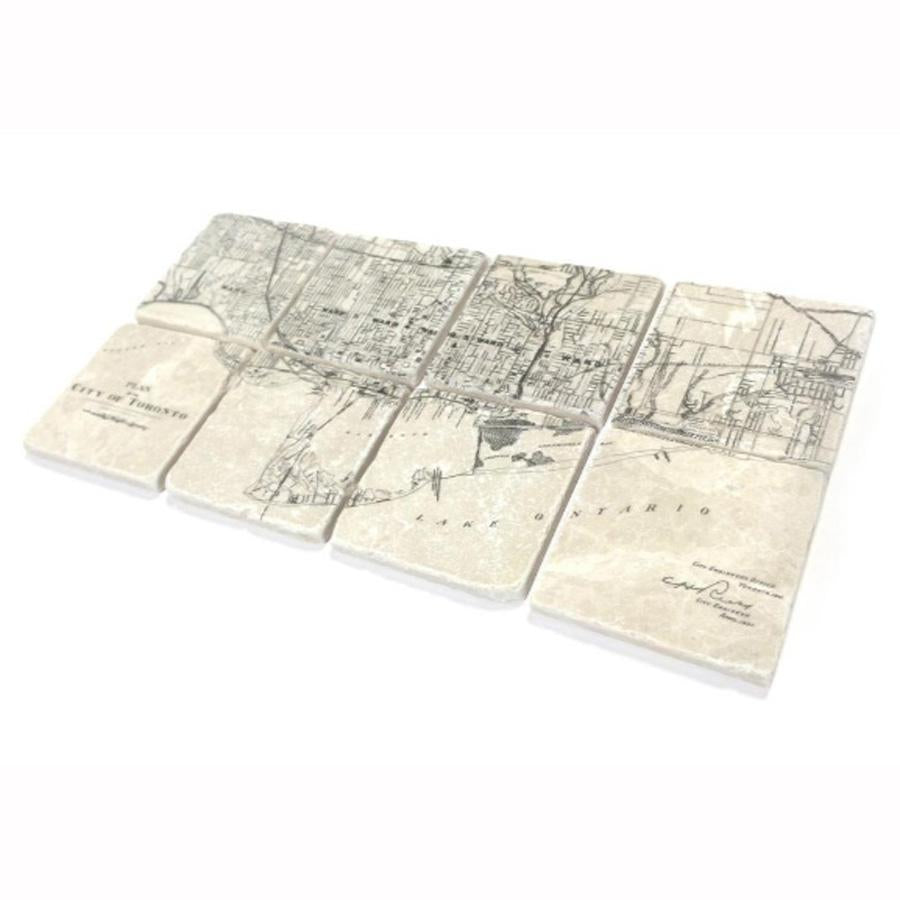 Toronto Streets Map 1901 Marble Coaster Set of 8