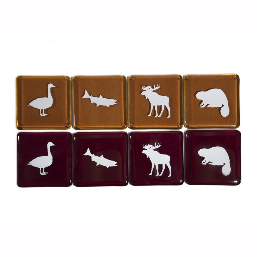 Canadian Animal Recycled Glass Coasters