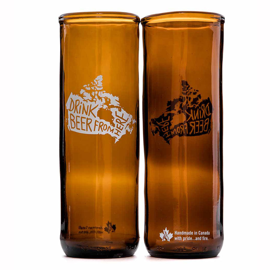 Canada Drink From Here Upcycled Beer Glass