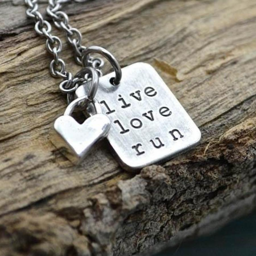 Live Love Run with Heart Necklace