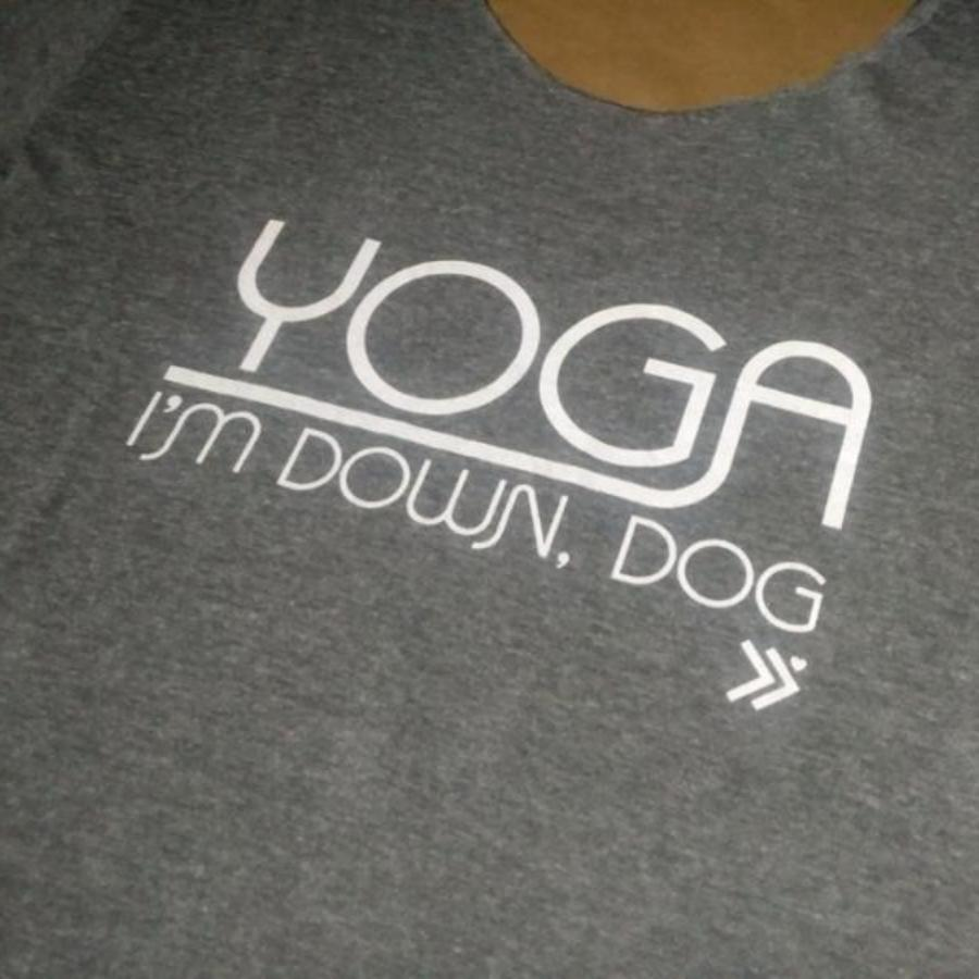 Yoga I Am Down Dog Wide Necked T