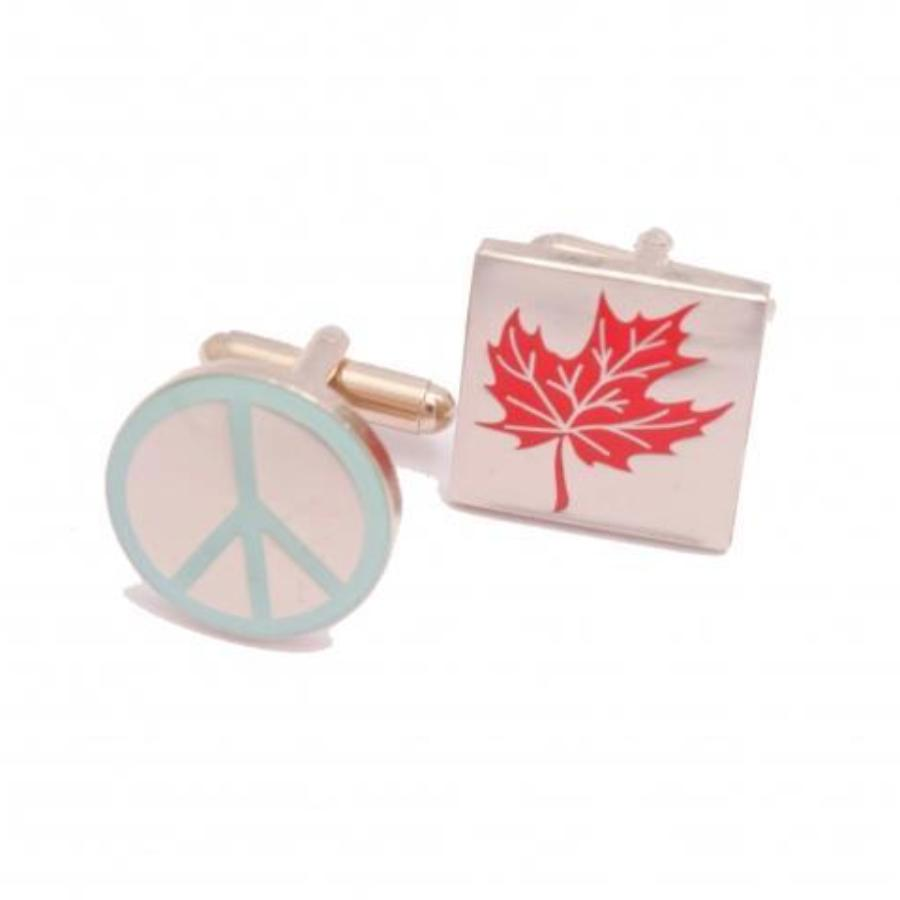 Peace Symbol & Maple Leaf Cufflinks