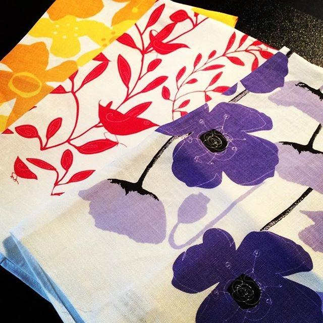 Flowers Linen Tea Towel
