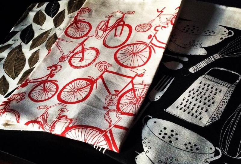 Bike Linen Tea Towel