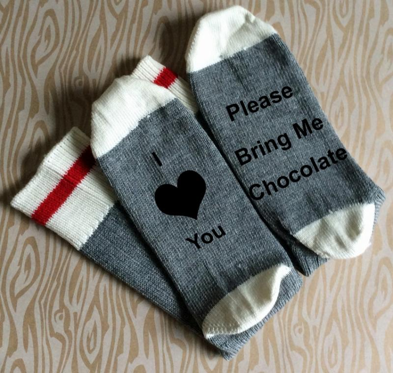 I Love You Bring Me Chocolate Merino Wool Socks