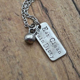 Eat Clean Train Dirty with Mini Kettlebell Necklace