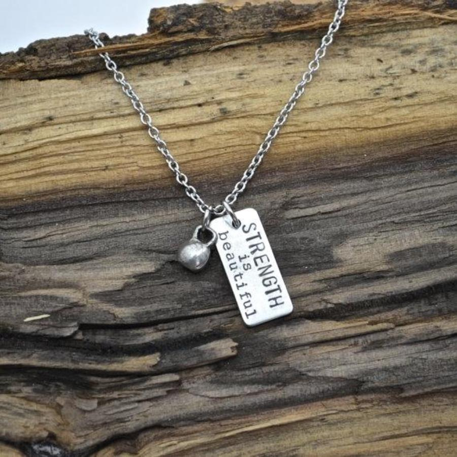 Strength is Beautiful with Kettlebell Necklace