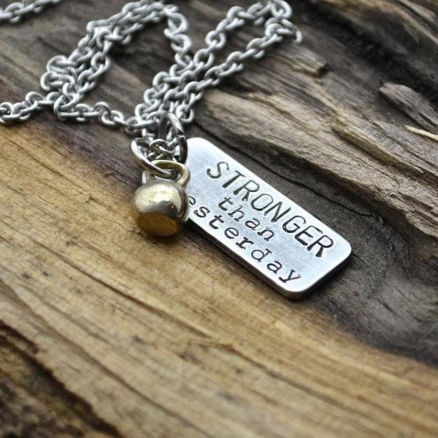 Stronger than Yesterday with Kettlebell Necklace