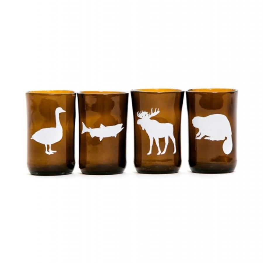 Canadian Animal Recycled Glass Tumblers