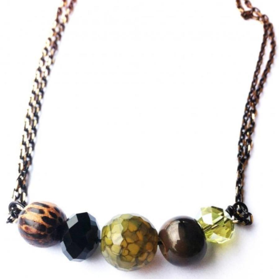 Mini Bauble Necklace - Mixed Browns