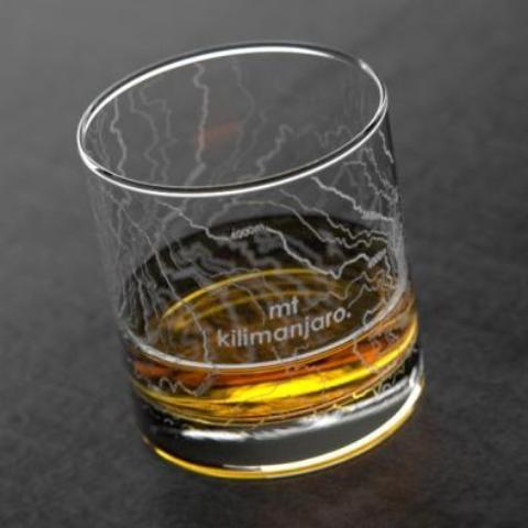 Mt Kilimanjaro Topographic Map Glass