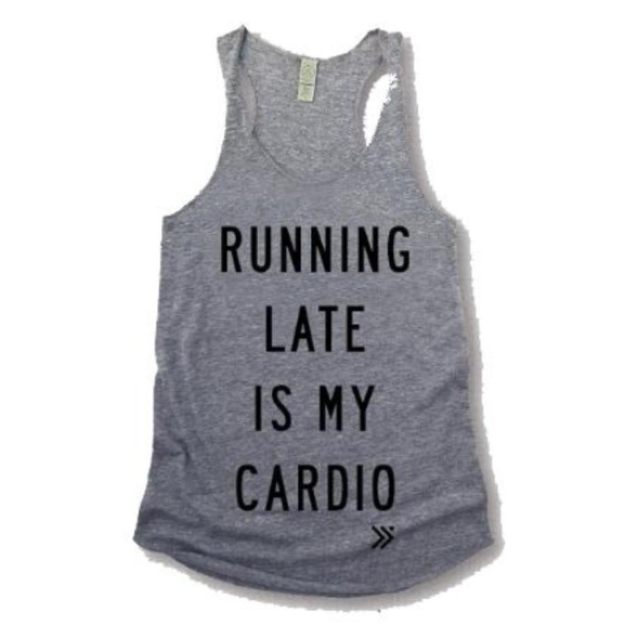 Running Late is my Cardio Raceback Tank