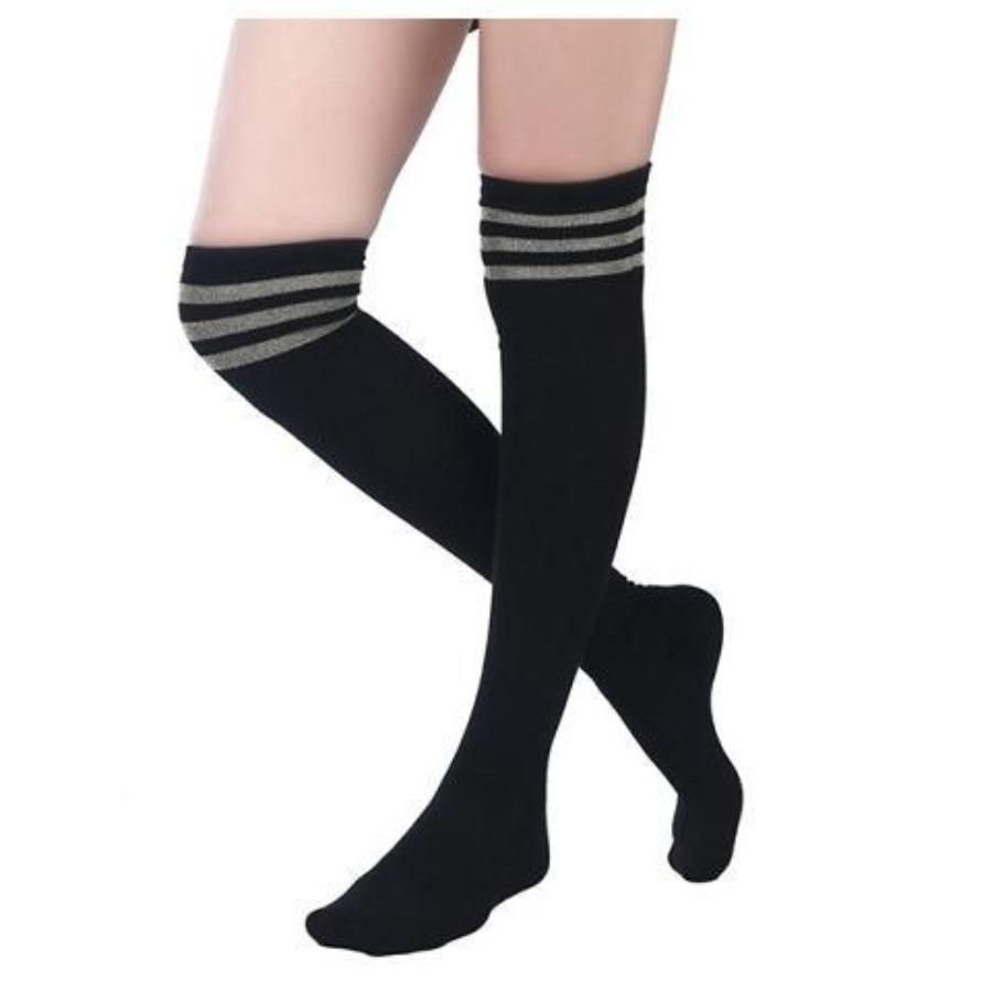 MS Varsity Over the Knee Black Socks