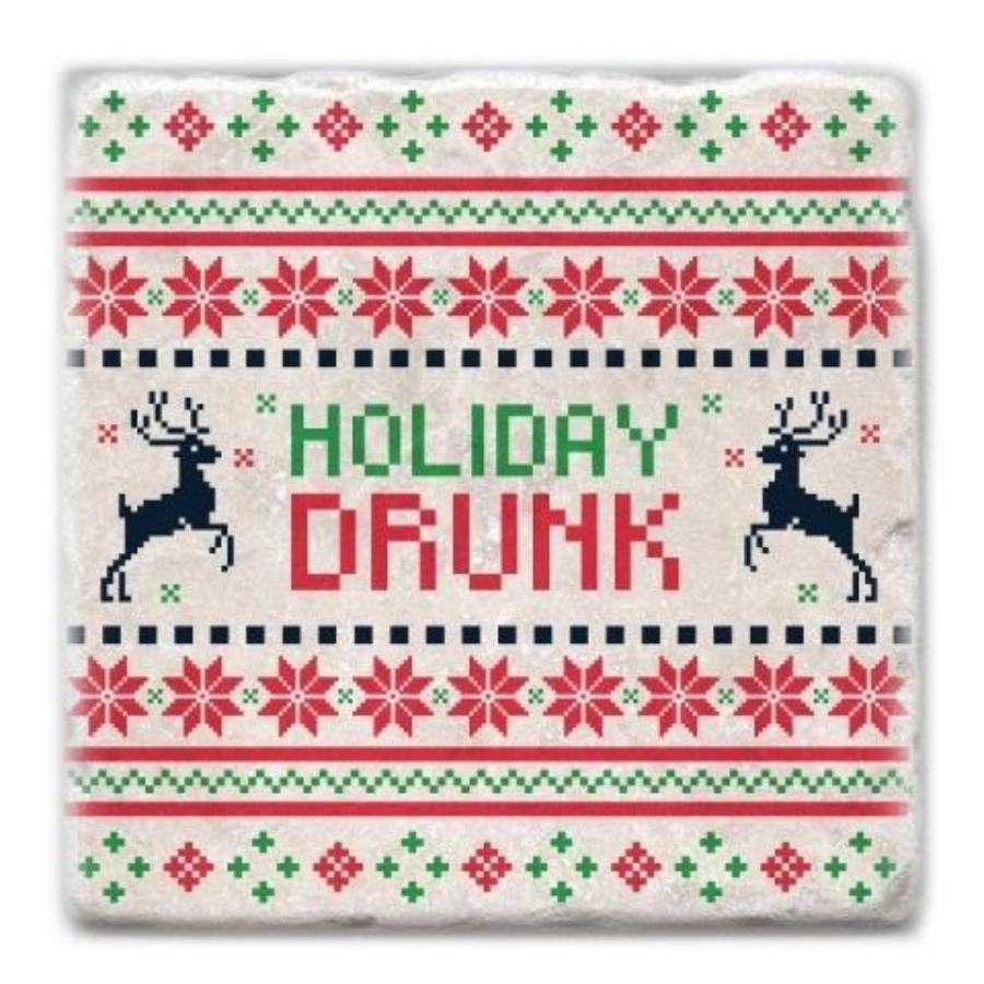 Holiday Drunk Marble Coaster