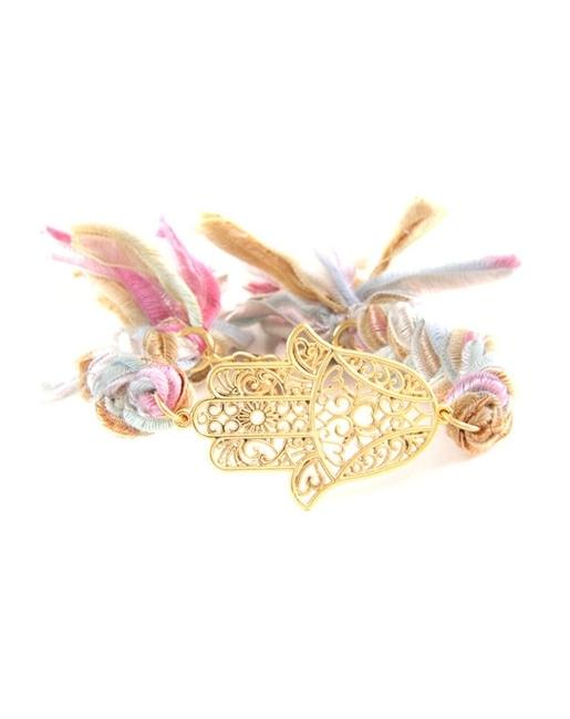 Gold Hamsa and Vintage Ribbon Bracelet