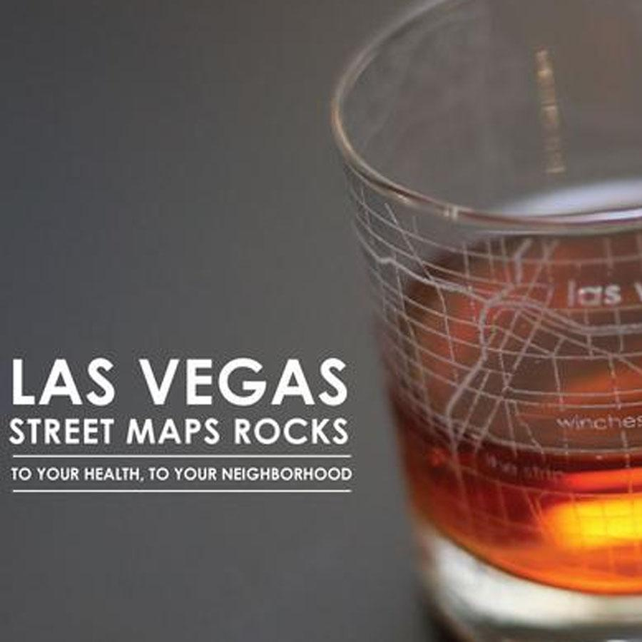 Las Vegas Street Maps Rock Glass