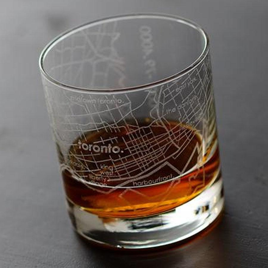 Toronto Street Maps Rock Glass
