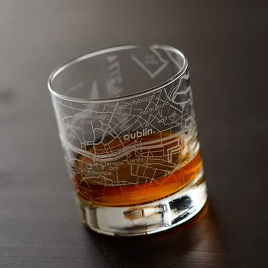 Dublin Street Maps Rock Glass