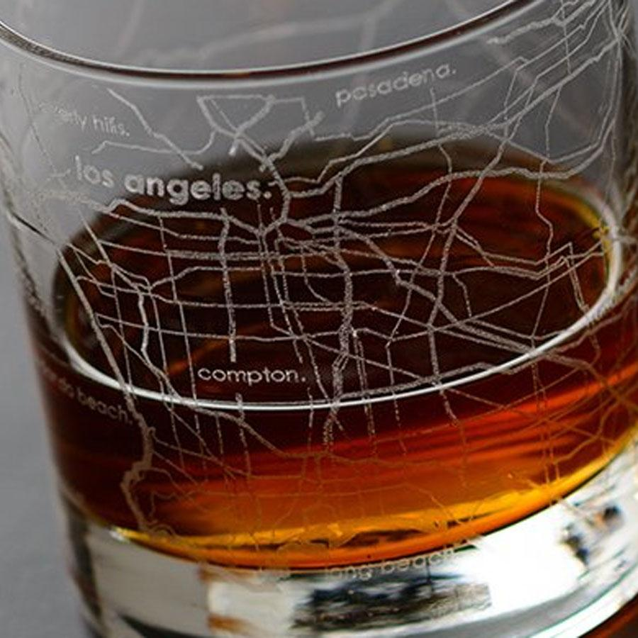 Los Angeles Street Maps Rock Glass