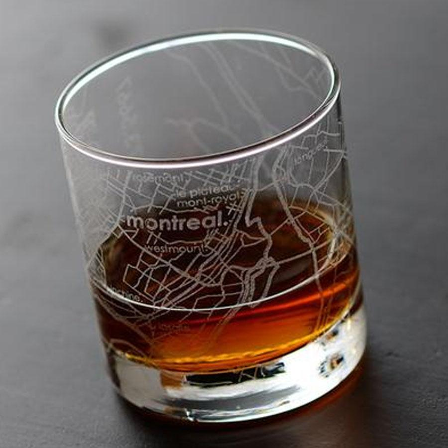 Montreal Street Maps Rock Glass