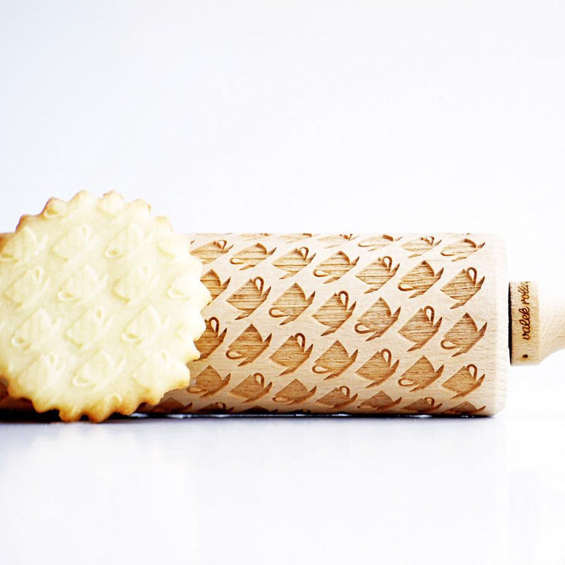 Flowers and Hearts Embossing Rolling Pin