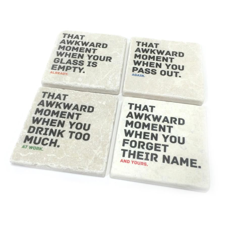 Awkward Drunk Moments Marble Coaster Set