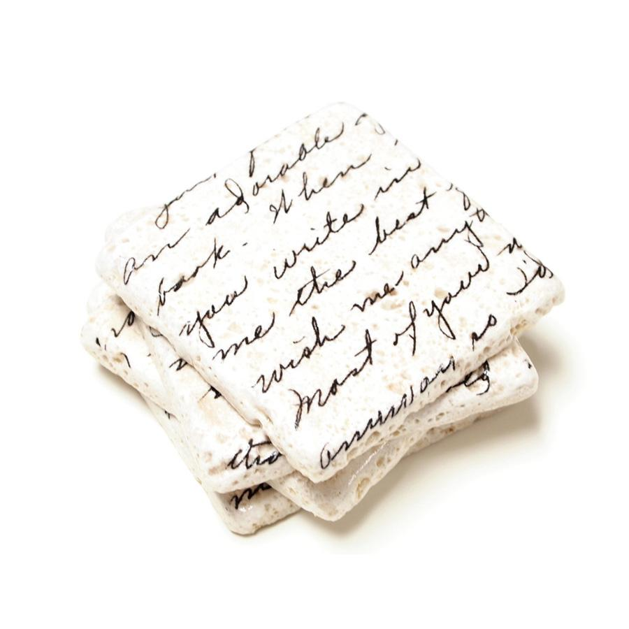 Love Letters Marble Coaster Set