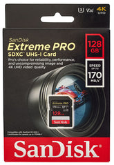 San Disk - Extreme Pro Micro SDXC UHS-I Card with Adaptor (128GB)
