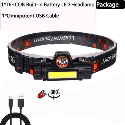 LED Headlamp Powerful Waterproof  XPE+COB USB Rechargeable Headlight