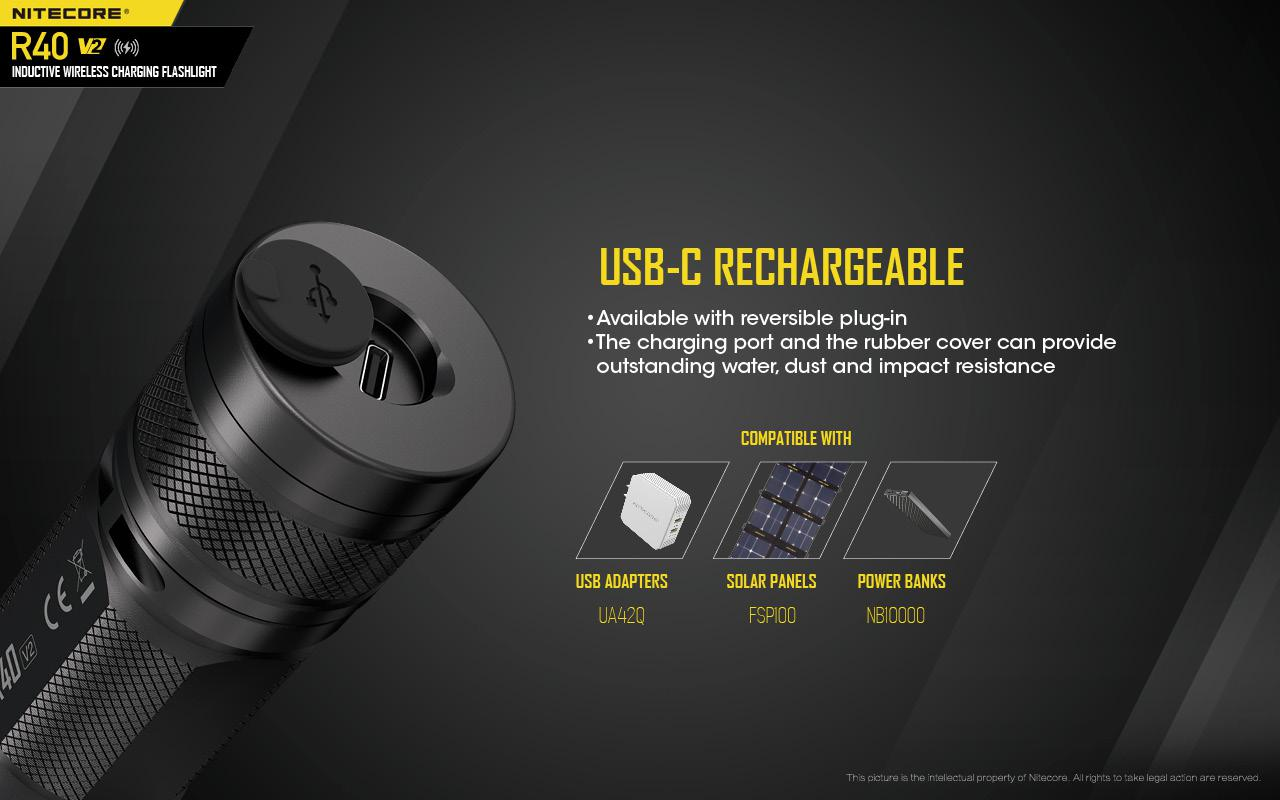 Nitecore - Torch R40 V2 1200 Lumens Rechargeable Flashlight with Charging Docks