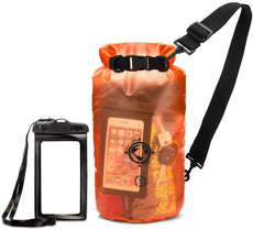 Earth.pak - Viewpoint Transparent Dry Bag with Waterproof Phone Case (Orange / 10 Liters)