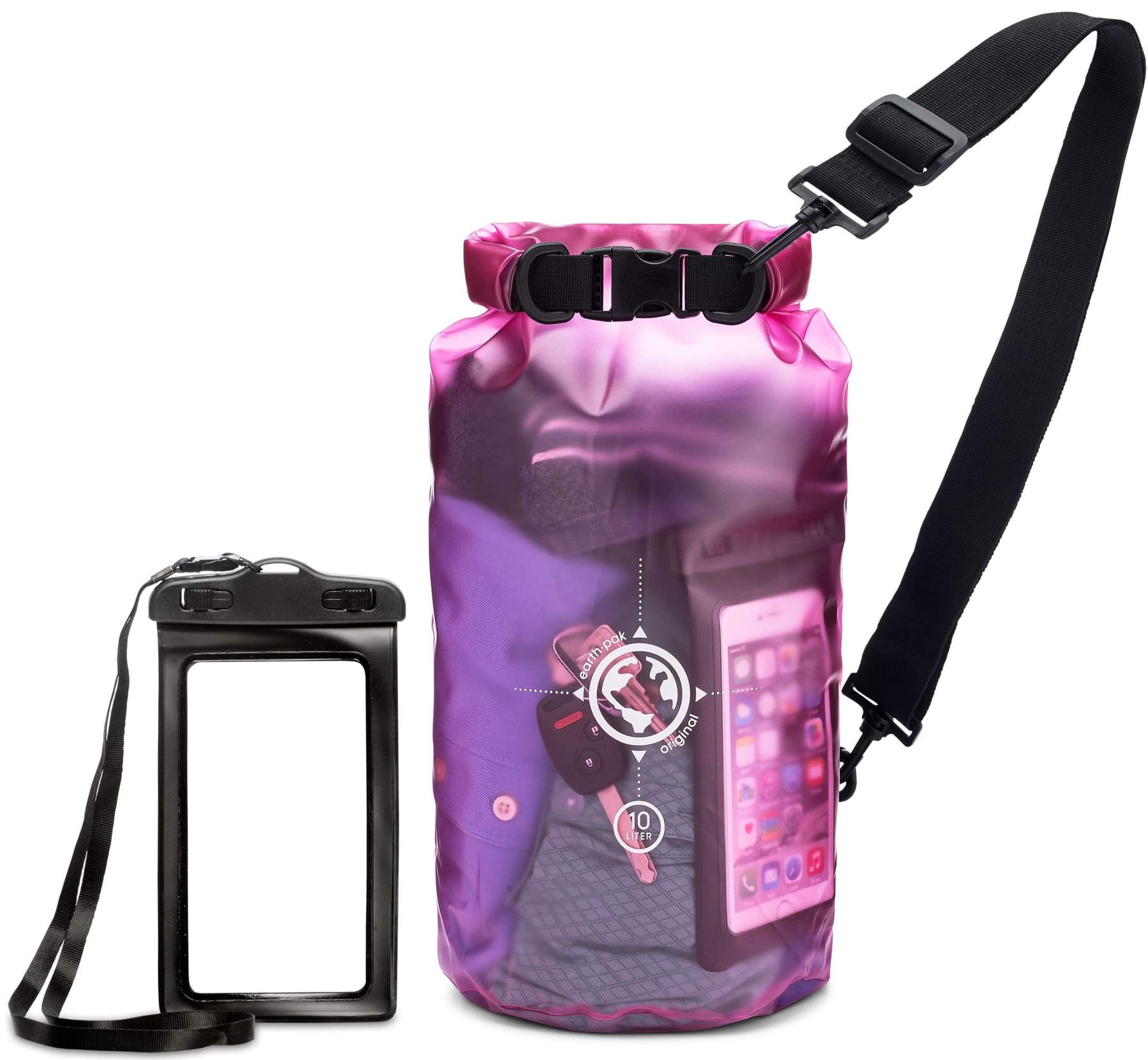 Earth.pak - Viewpoint Transparent Dry Bag with Waterproof Phone Case (Pink / 10 Liters)